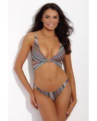 S.I.E SWIM Multicolor Kyle Twist Wrap Bikini Top - Stripe Print