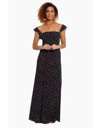 Flynn Skye Black Bardot Button Front Maxi Dress - Stardust