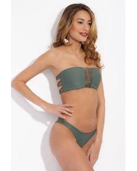 Mikoh Swimwear Green Sunset Stringy Bandeau Bikini Top