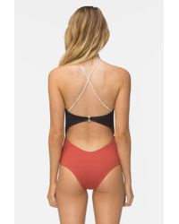 Tavik Multicolor Lela One Piece Swimsuit - Rust Color Block
