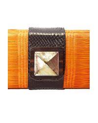 KATE CHAN - Simone Orange Woven Clutch - Lyst