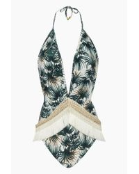 PATBO Plunging Fringe Trim One Piece Swimsuit - Ivory & Green Palm Print