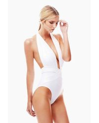 OYE Swimwear Roman Plunge One Piece Swimsuit - White