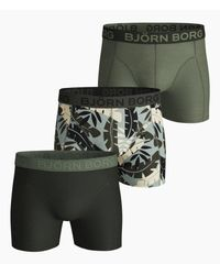 Björn Borg Jungle Cotton Stretch Shorts 3-pack Puritan Gray in het Green voor heren