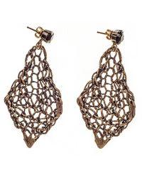 Black.co.uk - Metallic Vela Bronze And Agate Earrings - Lyst