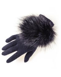 Black.co.uk | Blue Navy Cashmere And Fox Fur Gloves | Lyst