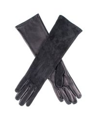 Black.co.uk - Multicolor Long Black Suede And Leather Gloves - Lyst