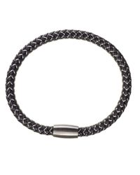 Black.co.uk - Gray Grey Cord And Stainless Steel Bracelet - Lyst
