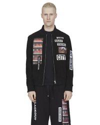 Blood Brother - Arrest Suede Bomber Jacket With Graphic Patches, Cut & Sew Panels In Black for Men - Lyst