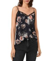 AllSaints Black Nia Eden Floral Camisole
