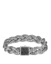 John Hardy White Classic Chain Silver Small Braided Bracelet With Black Sapphire