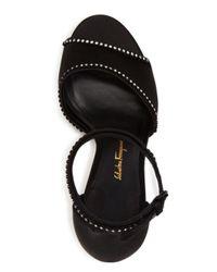 Ferragamo Black Salerno Crystal Embellished Ankle Strap High Heel Sandals