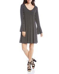 Karen Kane Black Bell Sleeve Polka Dot Dress