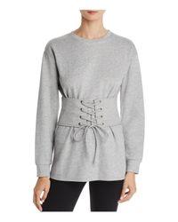 Aqua - Gray Corset Detail Sweatshirt - Lyst