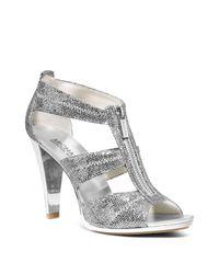 MICHAEL Michael Kors - Berkley Metallic T-strap High Heel Sandals - Lyst