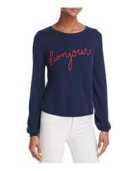 "Joie - Blue Jenris ""bonjour"" ""au Revoir"" Embroidered Sweater - Lyst"