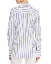 Theory Blue Striped Button Down Shirt