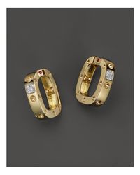 Roberto Coin | Metallic 18k Yellow And White Gold Pois Moi Single Hoop Earrings With Diamonds | Lyst