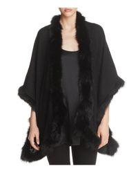 Max Mara Black Aria Fox Fur Trim Cashmere Scarf
