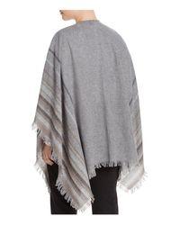 Eileen Fisher | Gray Stripe Fringe Serape | Lyst