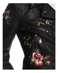 Aqua - Black Embroidered Faux Leather Moto Jacket - Lyst