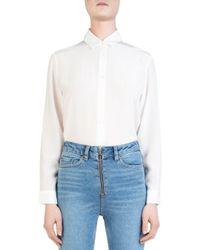 The Kooples White Wild Roses Button-down Bodysuit