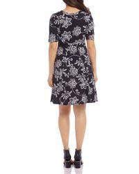 Karen Kane Black Floral - Paisley - Print Dress