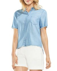 Vince Camuto Blue Frayed Chambray Top