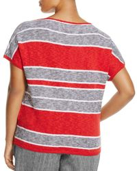 Marina Rinaldi - Red Adesso Short Sleeve Striped Sweater - Lyst