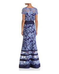 Tadashi Shoji Blue Blouson Illusion Lace Gown