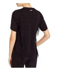 MICHAEL Michael Kors Black Fringed Short Sleeve Sweater