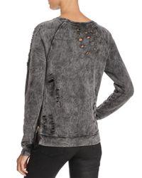 Black Orchid - Black Distressed Side Zip Sweatshirt - Lyst