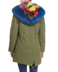 Maximilian Green Patchwork Fox Fur Lined Parka