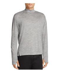 Theory - Gray Mock Neck Thumbhole Tee for Men - Lyst