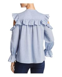Joie - Blue Akari Ruffled Cold-shoulder Top - Lyst