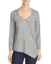 Status By Chenault - Black Ribbed Asymmetric Hem Sweater - Lyst