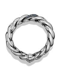 David Yurman - Metallic Hampton Cable Bracelet With Grey Diamonds & Sapphires - Lyst