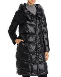 Donna Karan Black New York Cocoon Hooded Puffer Coat