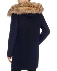 Vince Camuto - Blue Zip Front Faux Fur Hood Coat - Lyst