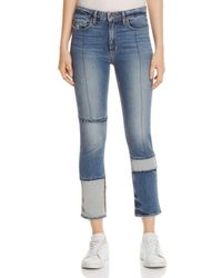 PAIGE Blue Jacqueline Seamed Straight Crop Jeans In Saratoga