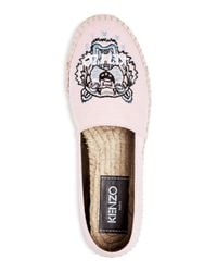 KENZO Pink Women's Classic Tiger Embroidered Espadrille Flats