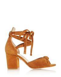 Isa Tapia Brown Women's Carina Ankle Tie Block - Heel Sandals