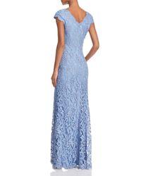 Tadashi Shoji - Blue Scalloped Lace Gown - Lyst