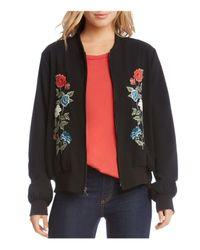 Karen Kane - Black Floral Embroidered Bomber Jacket - Lyst