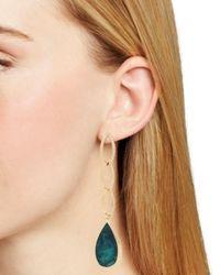 Robert Lee Morris Multicolor Green Patina Teardrop Link Earrings