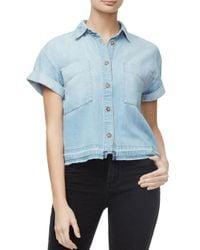 GOOD AMERICAN Cropped Denim Shirt In Blue287