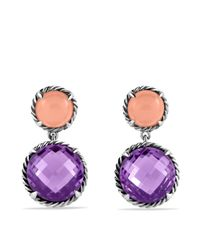 David Yurman | Metallic Châtelaine Double Drop Earrings With Amethyst & Guava Quartz | Lyst