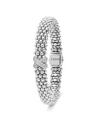Lagos Metallic Silver Caviar Bracelet With Diamond X