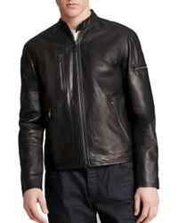 John Varvatos Black Short Zip Leather Jacket for men