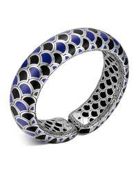 John Hardy Metallic Naga Sterling Silver Blue And Black Enamel Scale Cuff